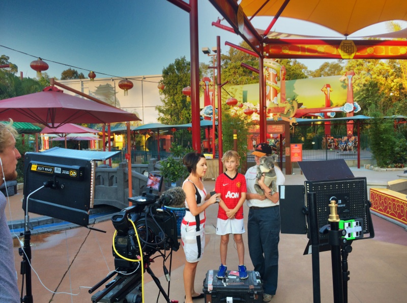 Mac Millar filming for The Project at Dreamworld