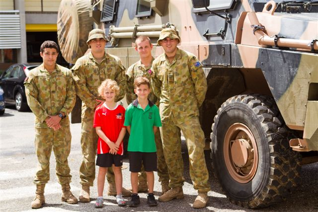 Me and my brother, Jock, with the Aussie soldiers