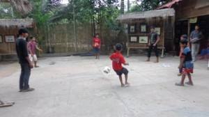 Kids playing soccer at the orphanage in Cambodia