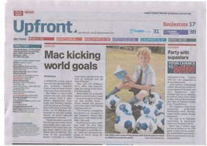 Newspaper Article about Mac's goal of soccer balls for the kids of Ukraine