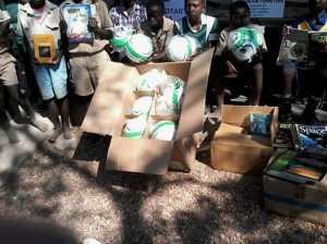 The soccer balls being delivered to Tjewondo School in Zimbabwe