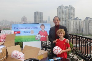 Soccer balls for North Korea - with Mr Frank Yih of HuaQiao Foundation Shanghai