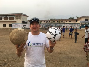 Mick Bentham with soccer balls for Nepal